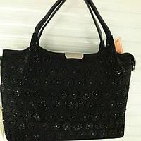9ba554c6e0c1 Роскошная двух-сторонняя замшевая женская сумка с камнями хорошего качества  по низкой цене