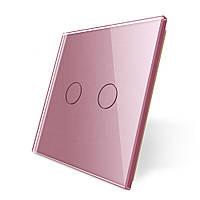 Лицевая панель для сенсорного выключателя Livolo 2 канала, цвет розовый, материал стекло (VL-C7-C2-17)