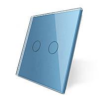 Лицевая панель для сенсорного выключателя Livolo 2 канала, цвет голубой, материал стекло (VL-C7-C2-19)