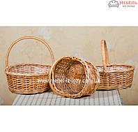 Набор плетеных корзин для подарков с короткой ручкой 3 шт