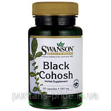 Цимицифуга Клопогон , Черный Стеблелист, Black Cohosh, Swanson, 540 мг, 60 капсул