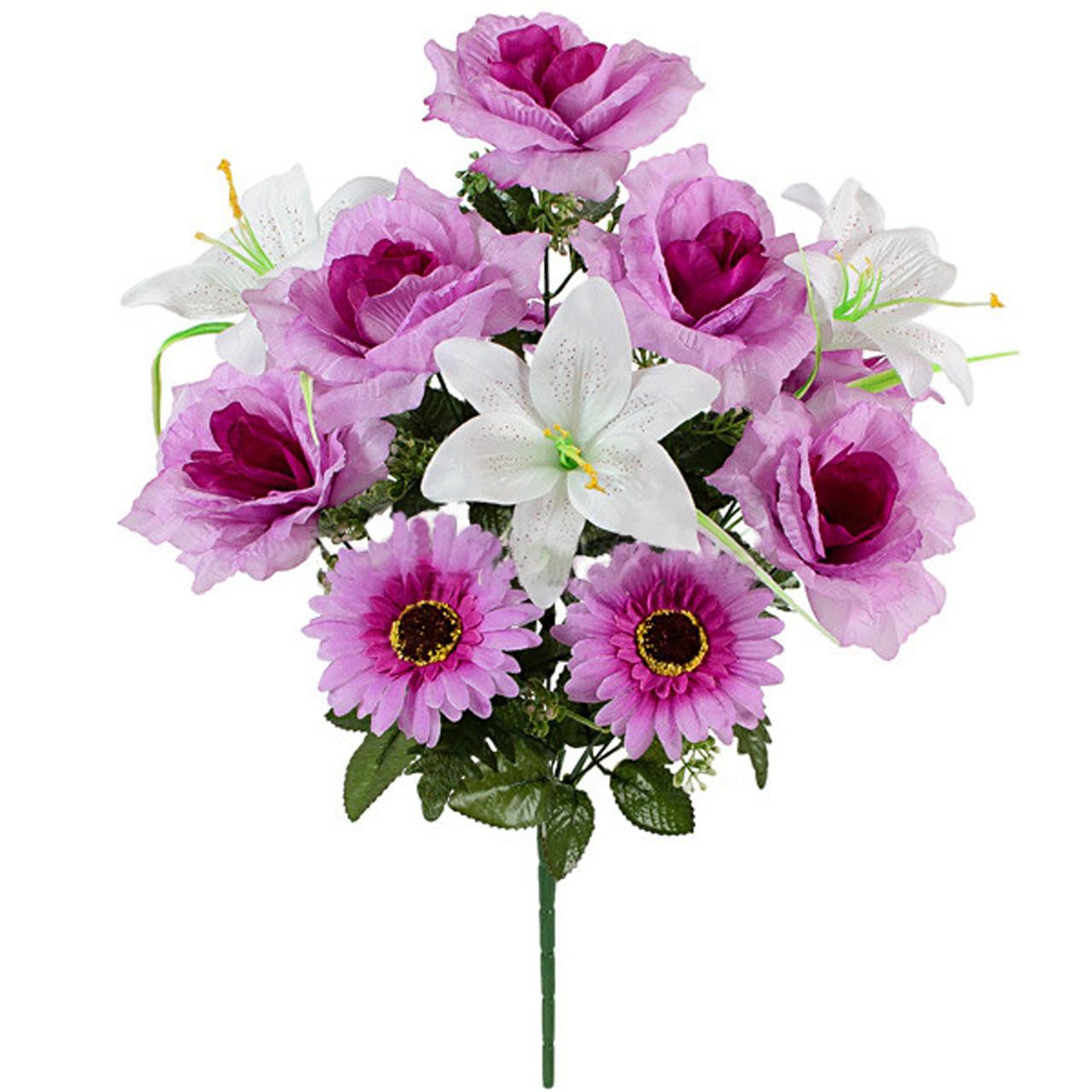 Букет искусственных гербер,лилий и роз, 54см (10 шт. в уп)
