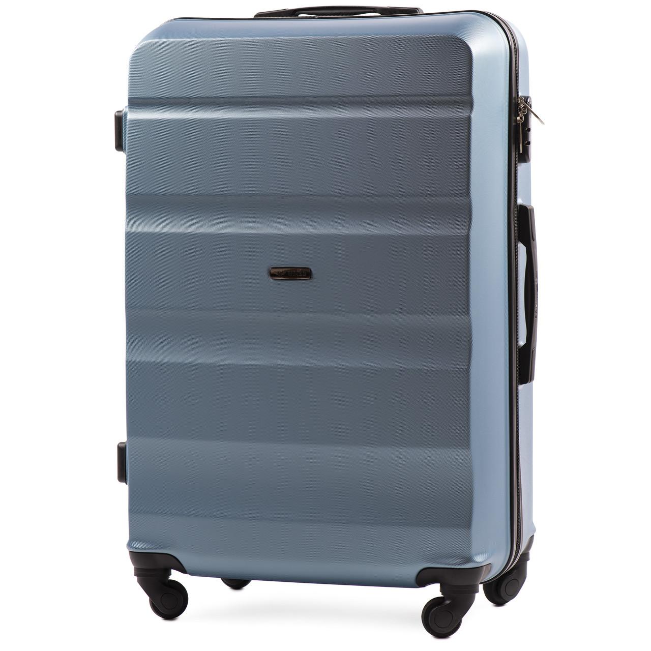 Средний пластиковый чемодан Wings AT01 на 4 колесах синий