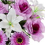 Букет искусственных гербер,лилий и роз, 54см (10 шт. в уп), фото 2