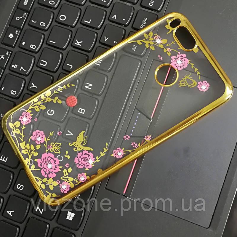 Чехол/Бампер со стразами для Xiaomi Mi A1 Золотой (Силиконовый)
