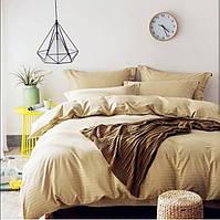 Бежевый Комплект постельного белья в полоску страйп-сатин ЕВРО простынь на резинке