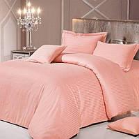 Розовый Комплект постельного белья в полоску страйп-сатин ЕВРО Простынь на резинке, фото 1