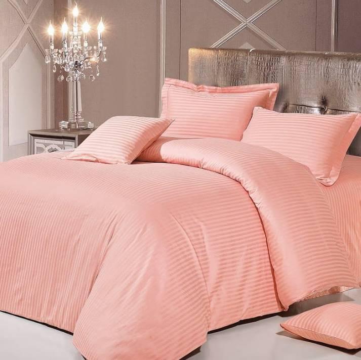 Персиковый Комплект постельного белья в полоску страйп-сатин ЕВРО Простынь на резинке