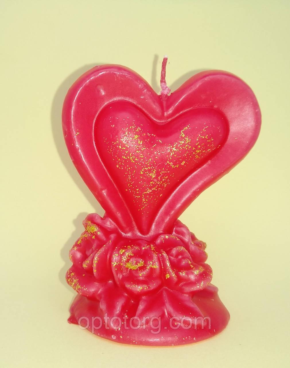 Свечи ко Дню Святого Валентина сердце в розах