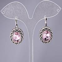 "Серьги с розовыми кристаллами оправа ""волна"" d-22х17мм L-3,5см"