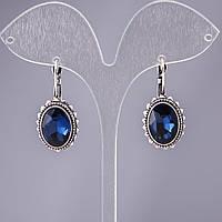 """Серьги с синими кристаллами оправа """"зигзаг"""" со d-15х17мм L-2,8см"""