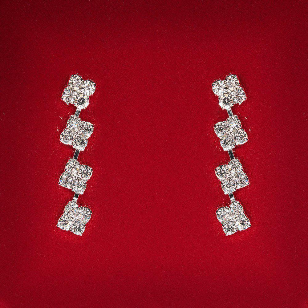 [34x8 мм] Серьги женские белые стразы светлый металл свадебные вечерние гвоздики (пусеты ) подвески 4 квадратика средние
