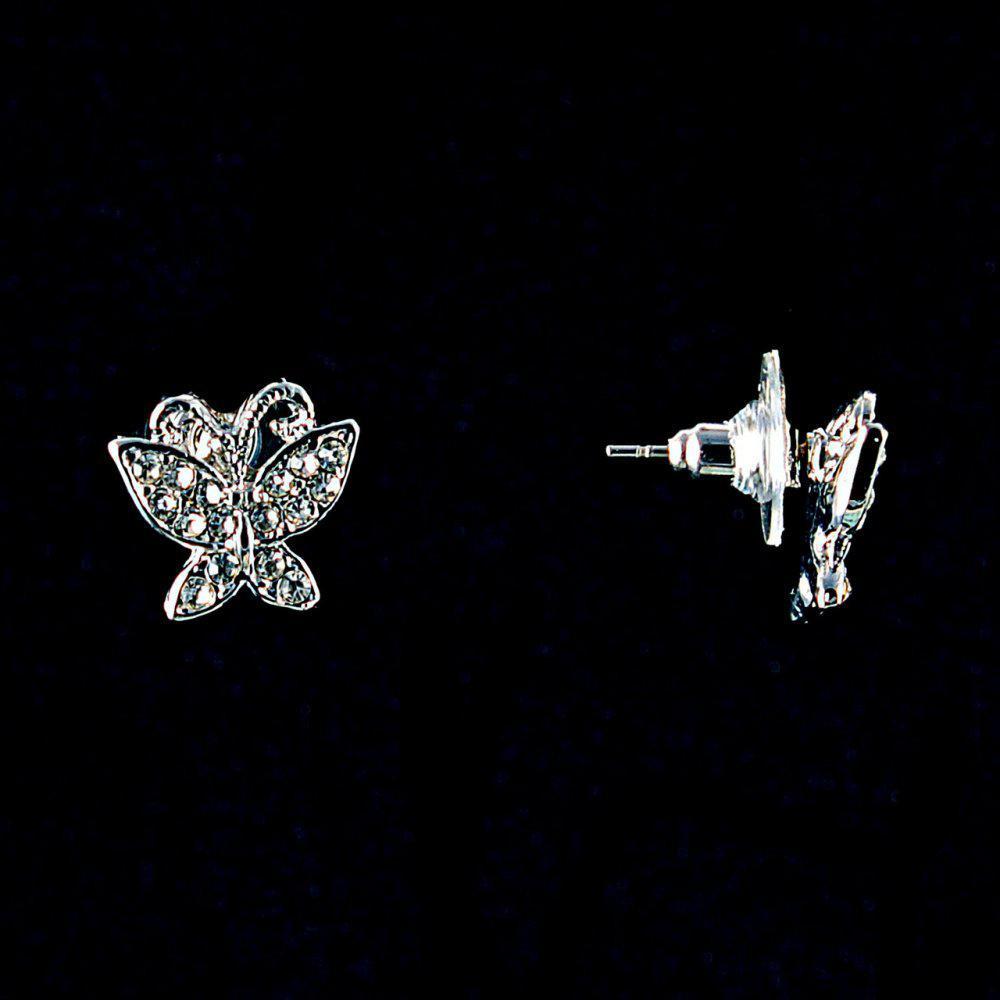 Серьги-пусеты Бабочки,белые стразы,металл под серебро,1,5см