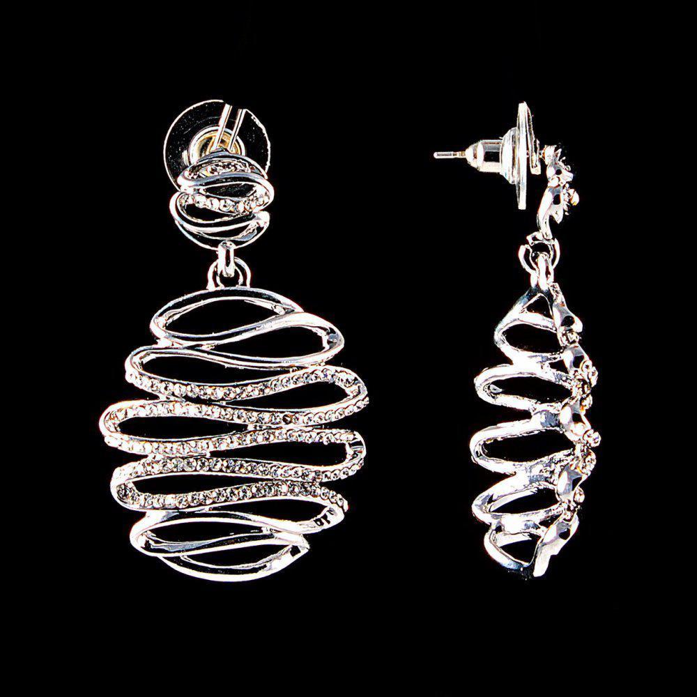 Серьги-пусеты с подвеской Зигзаг, белые стразы, металл под серебро, 4,5см