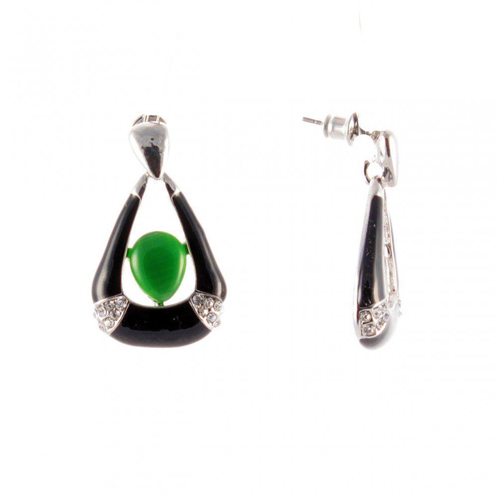 """Серьги-пусеты с черными подвесками треугольной формы и зелеными вставками\под """"серебро""""\ 30*8мм"""