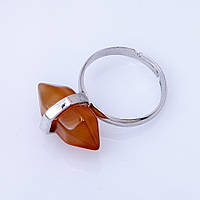 Кольцо натуральный камень Сердолик шестигранник 9х19мм
