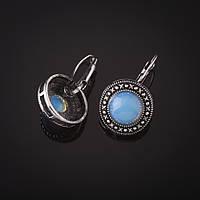 """Серьги Лунный камень оправа """"точка крестик"""" круглый камень 2см L-3см"""
