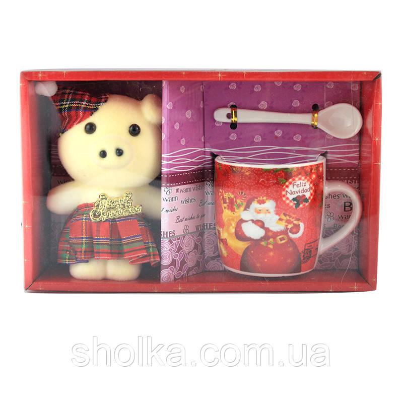 Подарочный набор чашка, ложка и мишка Merry Christmas