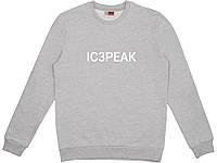 Свитшот IC3PEAK серый с белым лого, унисекс (мужской, женский, детский)