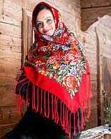 Хустка Великі квіти (120х120) червона