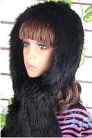 Женский капор из меха кролика черный