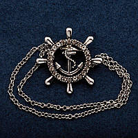 Брошь Штурвал с цепочкой ?3 см цвет металла серебро
