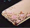 Прозрачный чехол с цветами и стразами для Huawei Mate 10 с глянцевым бампером
