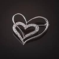 Брошь Сердца стразы белые серебристая 3 см