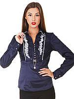 Блуза Каролина д/р т.синяя с белой кружевной отделкой приталенная с жабо