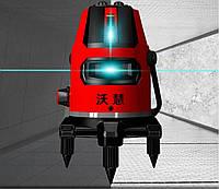 Топовый Лазерный уровень WEIYANG 5 линий 6 точек, БИРЮЗОВЫЙ ЛУЧ 50метров+Цифровой индикатор заряда