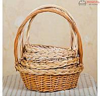 Набор плетеных корзин для подарков с плетенкой 4 шт