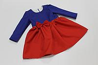 """Повседневно - нарядное платье на девочку """"Сине - красное """" с рукавами"""