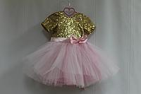 """Нарядное платье на девочку """"Золотые пайетки с нежно розовым фатином и рукавчиками футболочкой"""""""