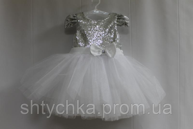 """Нарядное платье на девочку """"Серебренные пайетки с белым фатином"""""""