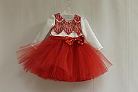 """Нарядное платье на девочку """"Красные реснички"""" с рукавами"""