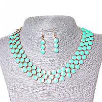 Набор ожерелье + серьги Ягодки, металл Gold и глянец аквамарин