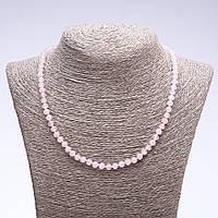 Бусы из натурального камня Розовый кварц граненный рондель d-6х5мм L-50см
