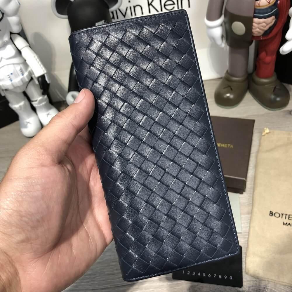 Bottega Veneta Wallet Continental Intrecciato In Denim