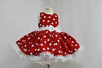"""Нарядное платье на девочку в стиле Стиляги """"красное в белый горошек """" с 2-м подьюпником"""