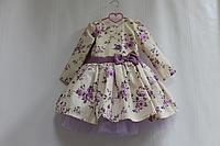 """Нарядное гламурное платье """"Сиреневая розочка"""" с рукавами (модель №3)"""