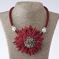 Колье на шнуре Хризантема текстиль фэшн бордо L-48-55см