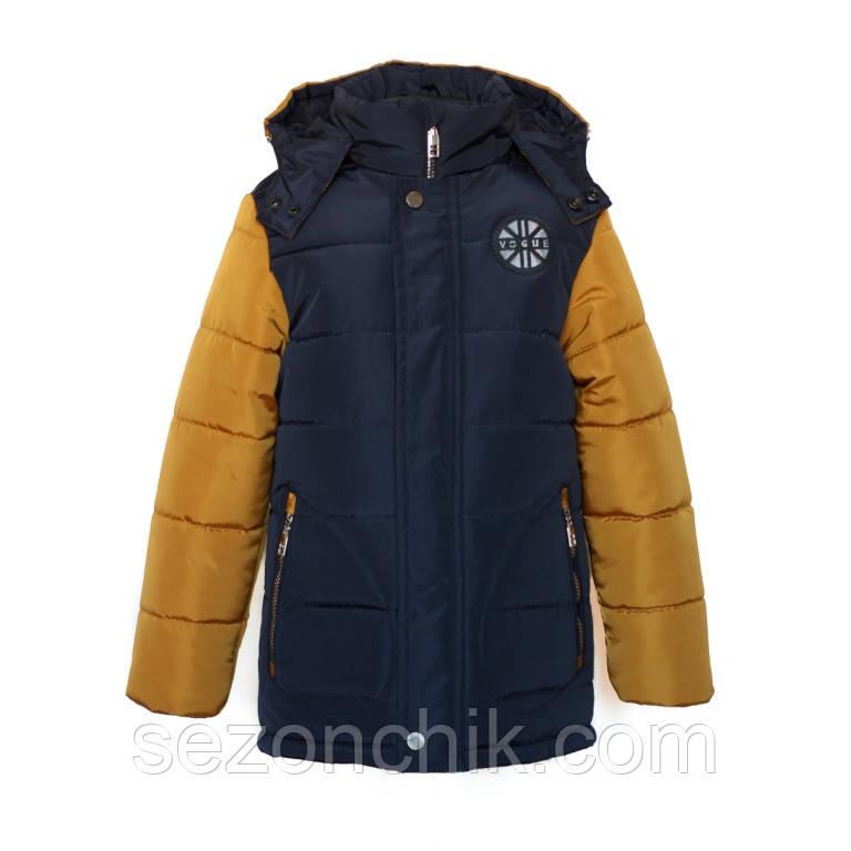 Удлиненная зимняя детская куртка на мальчика на овчинке