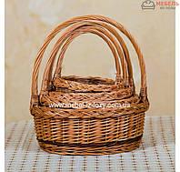 Набор плетеных корзин для подарков из цельной лозы 4 шт