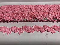 Тесьма кружево цветочками с лепестками 2,5 см цвет бледно розовый  9 м в рулоне