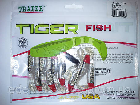 "Силикон  рыболовный TRAPER-""TIGER FISH"" 70мм kolor 8, фото 2"