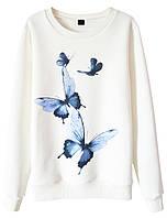 Женский стильный свитшот с принтом Butterfly (женские кофты, кофточки, толстовки, регланы, свитера, кардиганы)