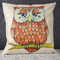 Красочные узор совы Квадратная Декоративная Наволочка(Без внутренней подушки)-Цветной 1TopShop