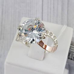 """Серебряное кольцо с золотыми вставками, размер 19 """"Мия"""""""