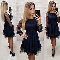 b6ff5b7f047 Красивое нарядное выходное вечернее платье с рассклешенной юбкой и фатином  синее 42 44