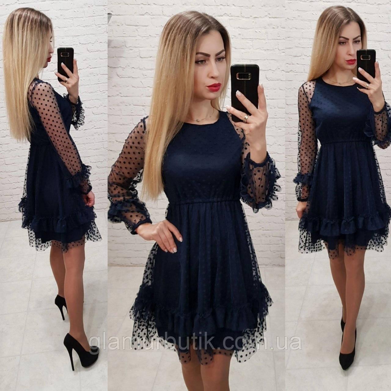 3cb57f1bea7 Красивое нарядное выходное вечернее платье с рассклешенной юбкой и фатином  синее 42 44